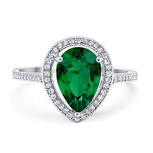 (Blue Apple Co. Halo Teardrop Pear Shape Simulated Green Emerald CZ Cubic Zirconia 925 Sterling Silver Size-9)