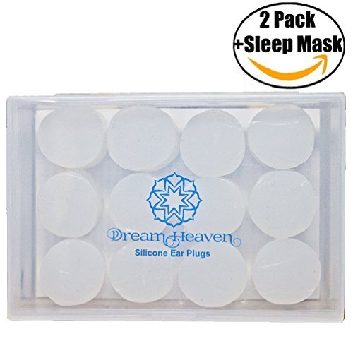 DreamHeaven Noise Cancelling Ear Plugs –Reusable Silicone Ear Plugs Kit 2 Pack plus Sleep Mask – Custom Molded Ear Plugs for Sleeping, Swimming, Airplane Travel, Studying Protects from Noise and - Ear 30 Disposable Plugs