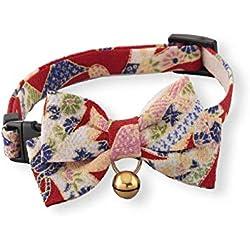 Necoichi Chirimen Kimono Pajarita para Gato, Rojo