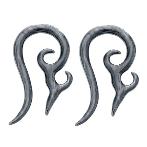 12G Black Marbled Acrylic Hanger Spiked Twirl Expander Plugs - Pair