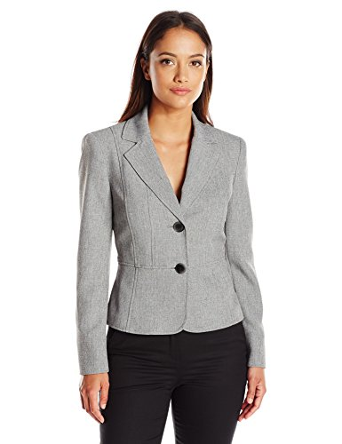 One Suit Jacket Button Petites (Kasper Women's Size 2 Button Jacket, Grey/Black, 12 Petite)