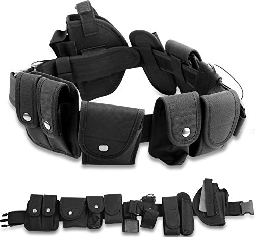 iMounTEK 10-IN-1 SWAT Police Security Law Enforcement Utility Tactical Waist EMS Belt Equipment Kit. Includes Duty Belt/Flashlight/Baton Holster. For Hunting Military Outdoor Extreme Sports Enthusiast