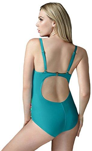 Sawadikaa Mujer Patrón Trajes de Baño Una Sola Pieza Bañador Para Ropa de Playa Monokinis Azul Claro