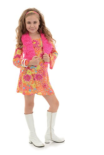 Flower Power Halloween Costume (Underwraps Big Girl's Girl's Flower Power Costume - Medium Childrens Costume, Multi,)