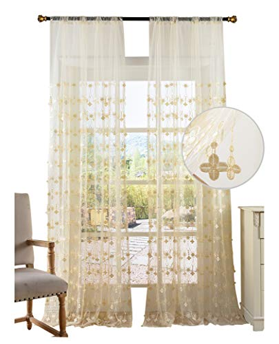 BW0057 Beautiful Sheer Curtain Simple Europern Style 3D Pendant Embroidered Window Treatment Voile Panel for Bedroom Living Room (2 Panels, W 50 x L 63 inch, White) 1301005C1BYDWH15063-8506-2P (Cortina De Ba??o)