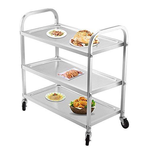 OrangeA Utility Cart 3 Shelf Utility Cart on Wheels 330Lbs Stainless Steel Cart Commercial Bus Cart Kitchen Food Catering Rolling Dolly (3 Shelf) ()