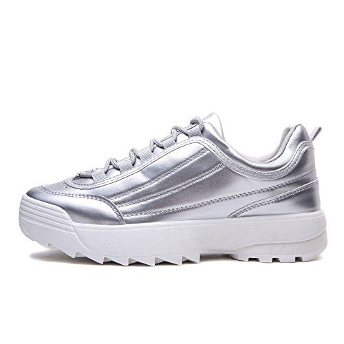 MForshop Ginnastica Lucida Pelle Sneakers Donna h811 da Lacci Argento Scarpe para Eco Stringate qrnZ46Erw0