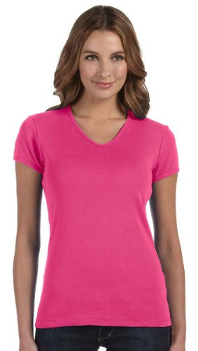 Bella + Canvas Ladies Stretch Rib Short-Sleeve V-Neck T-Shirt, Medium, RASPBERRY
