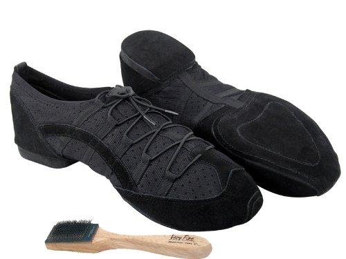 Ladies Women Men Ballroom Dance Sneakers from Very Fine 005 Black (8 (US Women 8 / US Men 6.5))