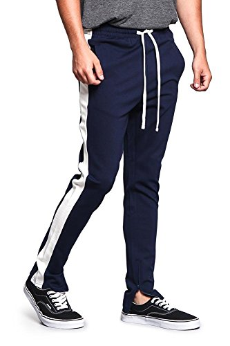 Men's Premium 4-Way Extra Stretchy Ankle Zip Contrast Outer Side Stripe Slim Fit Drawstring Track Pants TR526 - Navy/Off-White - Medium - G15B