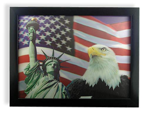 BANBERRY DESIGNS American Eagle Statue of Liberty and Stars and Stripes Flag 3 Dimensional Holographic Lenticular Black Framed Poster Wall Art Print