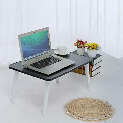 (Allywit Adjustable Laptop Bed Table Standing Bed Desk, Foldable Sofa Breakfast Serving Tray, Notebook Stand Reading Holder for Couch Floor Folding Computer Desk (Black))