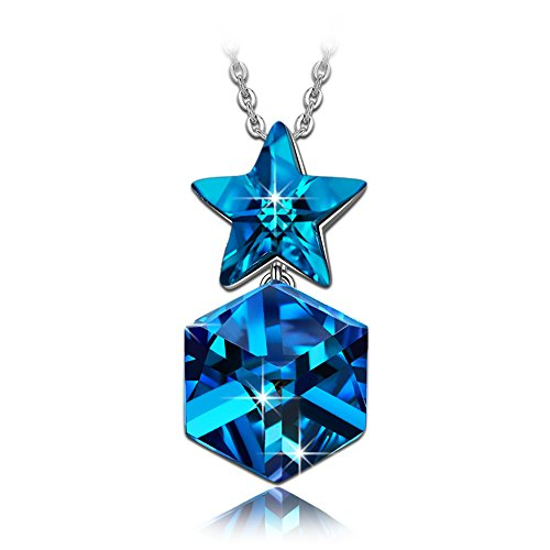 NINASUN Women Necklace Blue Twinkle Star Necklace for Teen Girls Birthstone 925 Sterling Silver Pendant Necklace Swarovski Crystal Fine Jewelry Anniversary Birthday Gift for Her Daughter ()