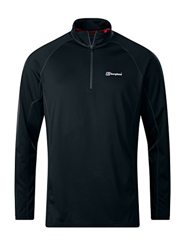 Berghaus Men's Tech Tee 2.0 Long Sleeve, Zip Neck Top, Black/Black, L from Berghaus