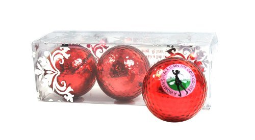 RED Metallic Golf Balls (Sleeve of 3) Imprinted with A Woman's Place - Bling Balls! by Navika
