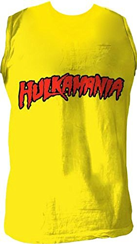 "Hulk Hogan ""hulkamania"" Sleeveless T-shirt Gold [Apparel] Size: Small"