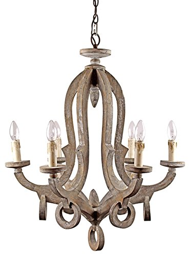 Parrot Uncle Antique 6-Light Candle-Style Chandeliers Wooden Rustic Pendant Lights Farmhouse Ceiling Lights