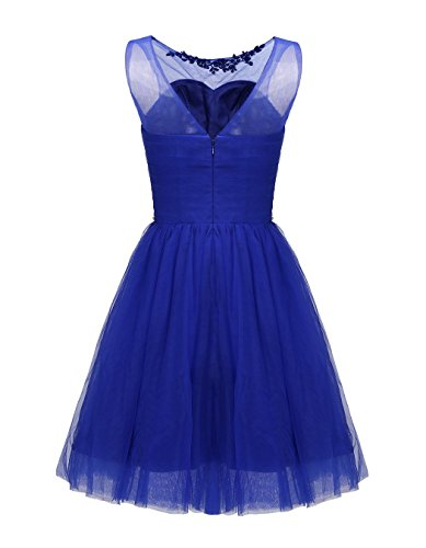 Neck Short Crew Womens ALAGIRLS Tulle Gowns Dress Royalblue Beaded Homecoming Party Prom wTtt0q1