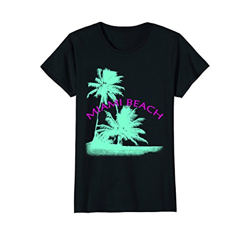 Womens Palm Trees Miami Beach T-Shirt Medium - Miami Women Beach