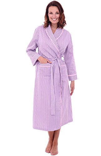 Alexander Del Rossa Womens Cotton Robe, Lightweight Woven Bathrobe, 2XL Pink and Purple Striped (A0515P452X) - Summer Seersucker