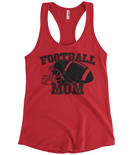 Cybertela Women's Mother's Day Gift Football Mom Racerback Tank Top (Red, X-Large)
