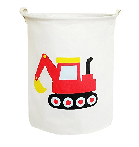 TIBAOLOVER19.7 Large Sized Waterproof Foldable Laundry Hamper Bucket,Bin Storage Organizer for Toy Collection,Canvas Storage Basket with Stylish Cartoon Design(Machinery) (RED Machinery)
