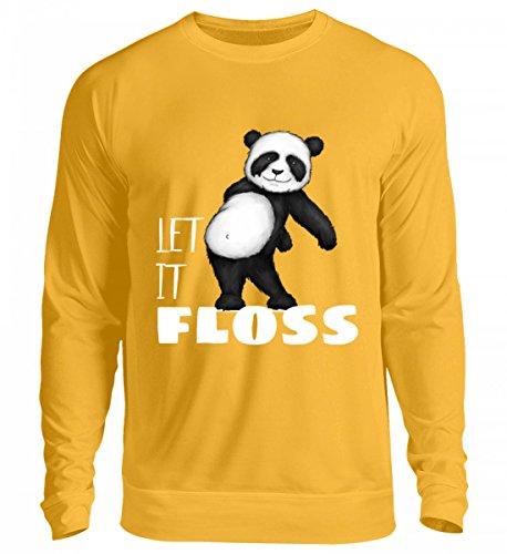 Hochwertiger Unisex Pullover - Let it Floss - Laß es flossen - flossender Panda-Bär für Panda-Fans und Floss-Tänzer Sonnengelb