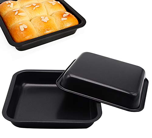 Vanly 2-Pack Square Non-Stick Cake Pans, High Carbon Steel Bakeware, 7.5 inches, Perfect for Brownies, Cinnamon Rolls, Square Cakes, Grilled Chicken Wings and more