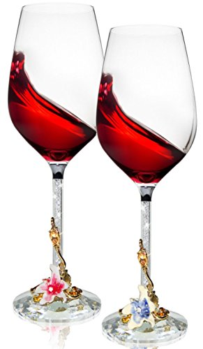 Wine Glasses Set of 2 - Unbreakable Stemless Glass with Crystal Diamonds Stem for Red & White Wines - 16 Ounce - Lead Free (Flower)