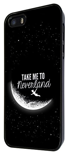021 - Cool Funky Moon take me to neverland Design iphone 5 5S Hülle Fashion Trend Case Back Cover Metall und Kunststoff - Schwarz