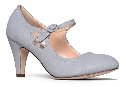 Grey Heels Shoe - Mary Jane Pumps - Low Kitten Heels – Vintage Retro Round Toe Shoe with Ankle Strap - Pixie by J. Adams