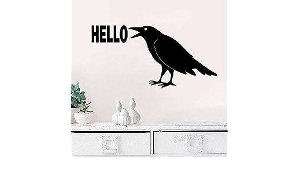Cuervo Hola Etiqueta de la Pared Etiqueta engomada del pájaro ...
