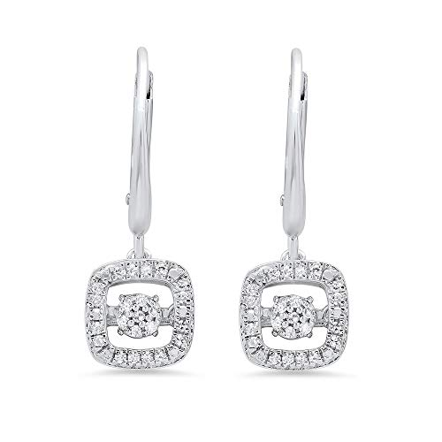 Dancing Diamond Cushion Dangle Leverback Earrings in 925 Sterling Silver by Parade of Jewels (1/6 ct.tw.)