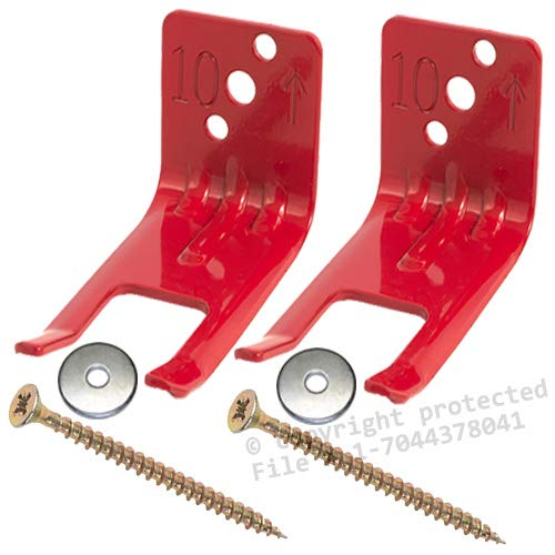 (Fire Extinguisher Bracket - (Lot of 2) Amerex Fork Style, Wall Hook, Mount, Hanger for 5 to 13lb. Extinguishers with Valve Body Slots - FREE SCREWS & WASHERS)