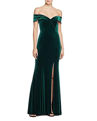 Lang mit Brautjungfernkleider Abendkleider Green Festkleider Cocktail A Line Schlitze Kleider 1qrwT1B