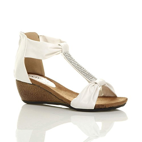 Ajvani Women's Mid Heel Wedge Zip T-Bar Diamante Summer Party Sandals Size 9 40 (T-bar Sandals Wedge)
