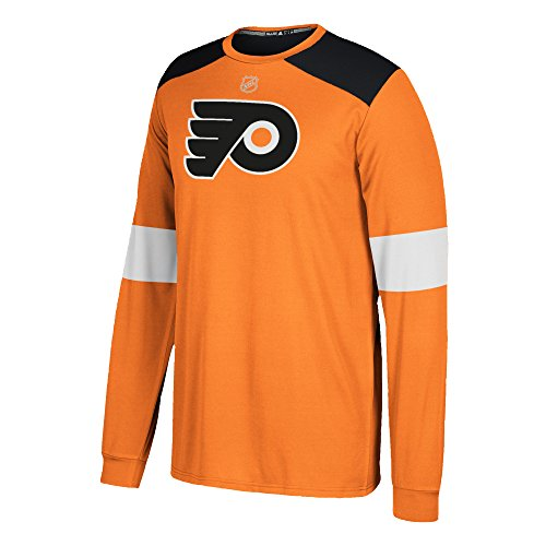 (adidas NHL Philadelphia Flyers Mens Silver L/s Jersey Teesilver L/s Jersey Tee, Orange, 4X-Large )