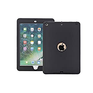 AOKER New iPad 2017 9.7 inch Case, Three Layer Lightweight Heavy Duty Armor Defender Shockproof Full Body Protective Case with Cover for Apple New iPad 9.7 inch (2017 Version) (Black)