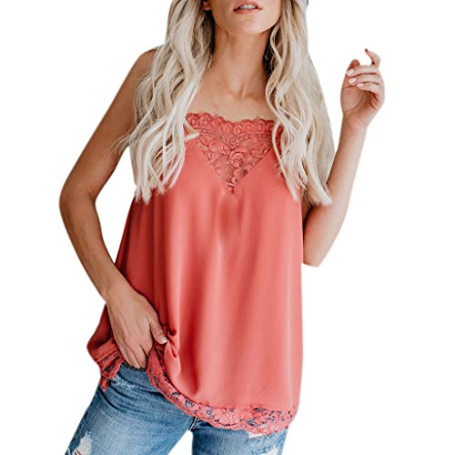 Women's Loose V-Neck Tops,Casual Sleeveless Blouse Cold Shoulder Tunic Solid Color Lace Shirt Tank Tops Tee Red