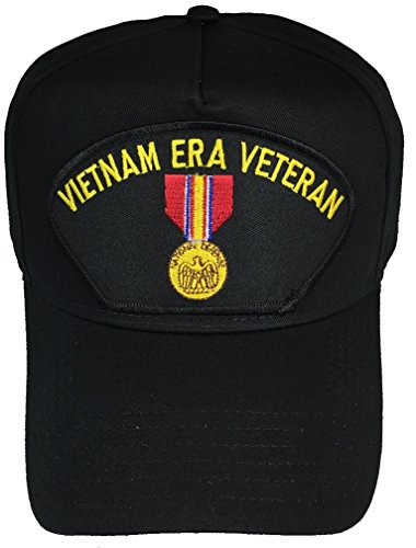 VIETNAM ERA VETERAN with NATIONAL DEFENSE MEDAL CAP - BLACK HAT - Veteran Owned Business