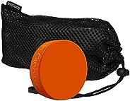 Inglasco (12) Orange Weighted 10oz Training Hockey Pucks in Mesh Carry Bag
