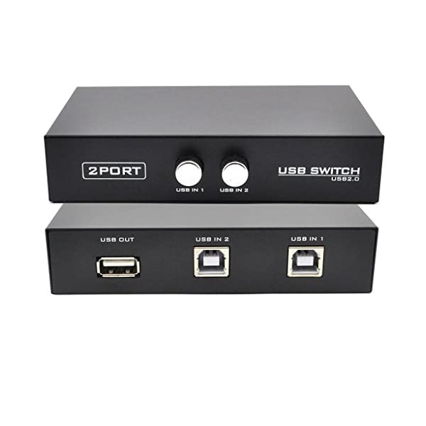 rts 2 Port USB 2.0 Switch Box/Hub for Printer Scanner Keyboard and USB Supported Devices