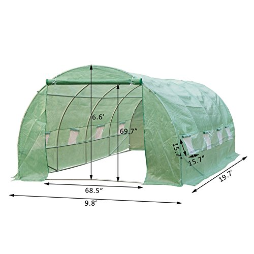 41cCyz7vhEL - Outsunny 20' x 10' x 7' Portable Walk-In Garden Greenhouse - Deep Green