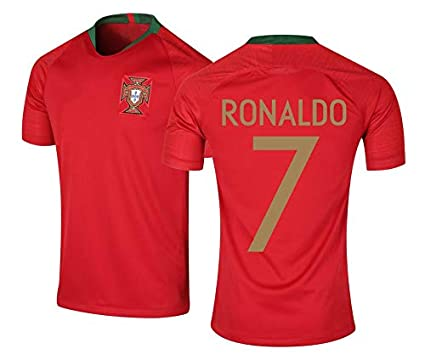 83cd0561e Roots4creation Men s Polyester Portugal Football World Cup Jersey 2018 with  Ronaldo Printed at Back (Red