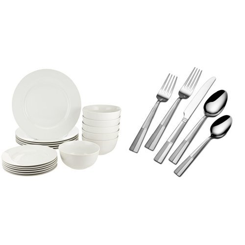 AmazonBasics 18-Piece Dinnerware Set, Service for 6 and International Silver Arabesque Frost 18/0 Stainless Steel Flatware, 20-Piece Set, Service for 4 (5114325) - Arabesque Dish