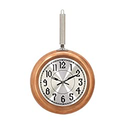 Deco 79 98436 Frying Pan Iron Wall Clock, 19 x 11, Copper/Silver/Black