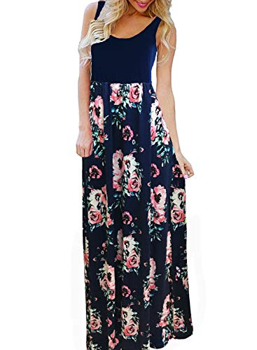 BLUETIME Women's Formal Empire Waist Cocktail Party Dress Floral Maternity Dresses Maxi (Royal Blue, XL)