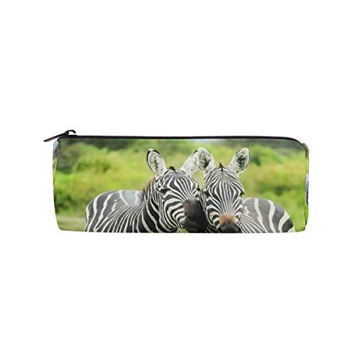 MUOOUM Two Zebra Kiss Love Pencil Case Pouch Bag Cute Pen Zipper Bag for Stationery Travel School Student Supplies