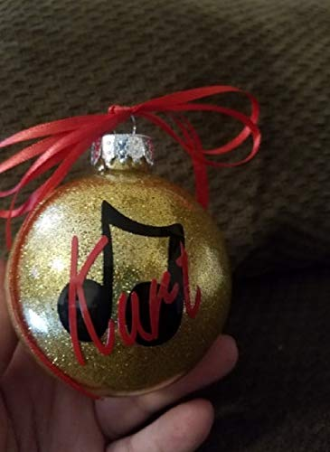 (Music - Muscial - Music Note - Personalized Ornament - Ornament Gift - Glittered ornament - Name on Ornament - Christmas ornament - Gift Exchange - Glitter Ornament)