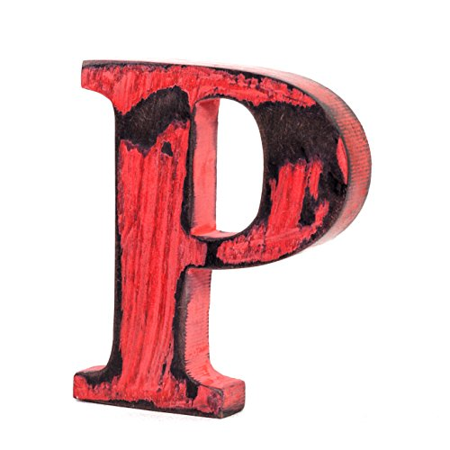 Shabby Chic Vintage Large 11 cm Wooden Letters Hand Finished Alphabets Free-Standing Or Wall Mounted Decor for Weddings Baby Names Signs Unique Personalised Gift.(Red, Letter P)